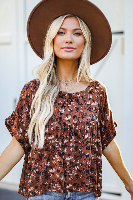 Rust - Floral Babydoll Blouse