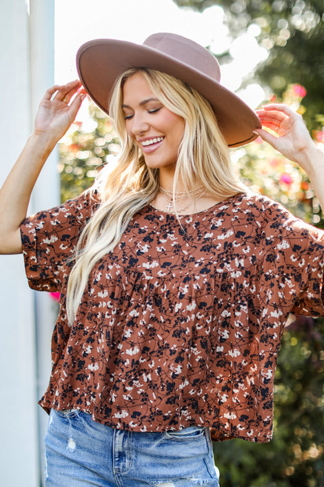 Rust - Floral Babydoll Blouse from Dress Up