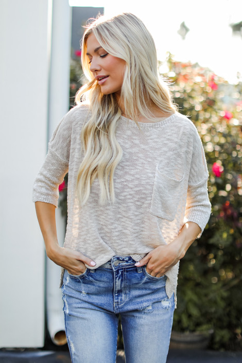 Tan - Loose Knit Sweater from Dress Up