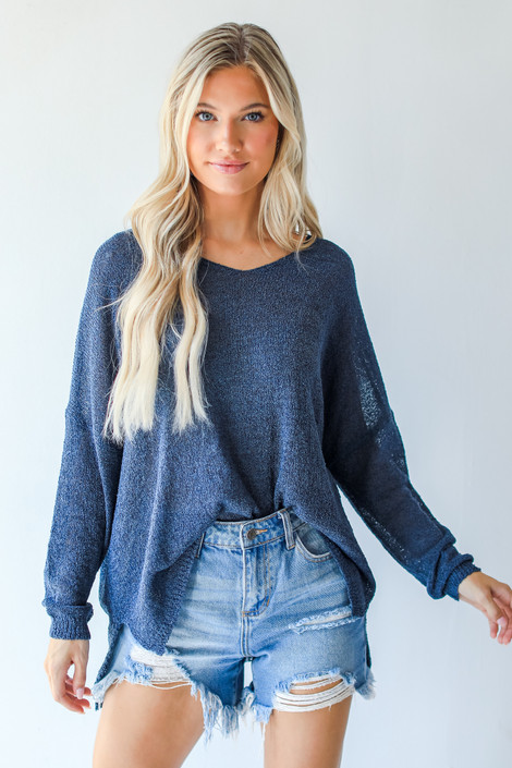 Navy - Loose Knit Sweater