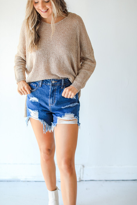 Dark Wash - Distressed Mom Shorts from Dress Up