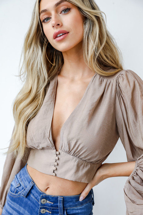 Mocha - Cropped Blouse from Dress Up