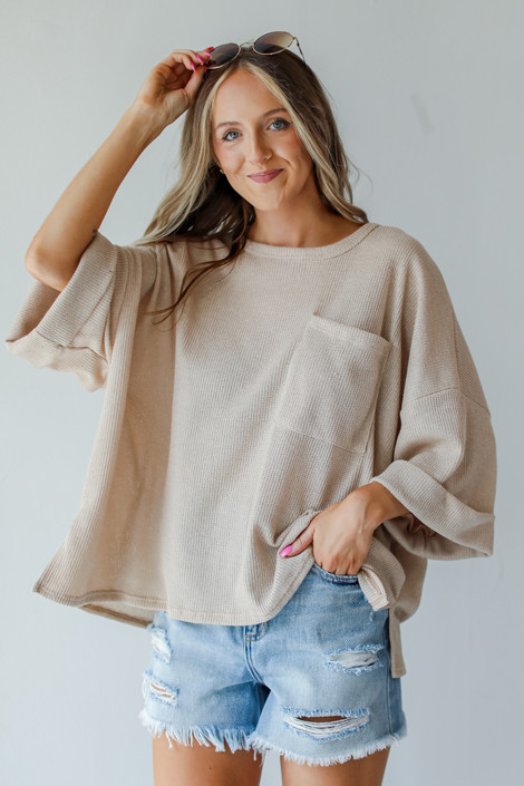 Tan - Oversized Knit Top from Dress Up