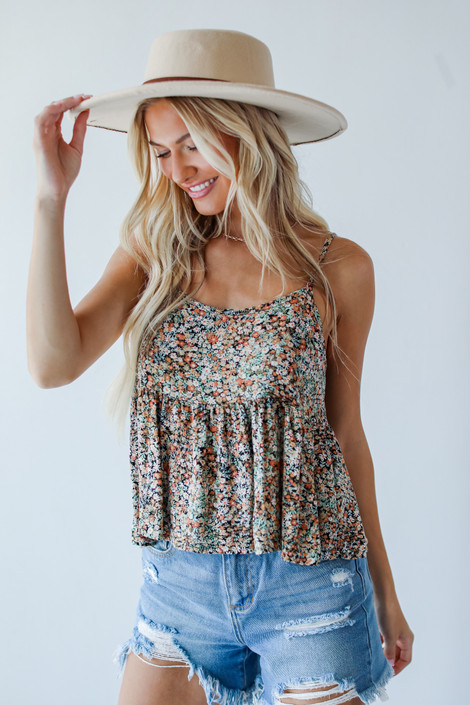 Black - Floral Babydoll Tank from Dress Up