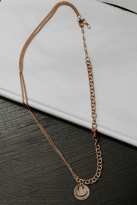 Gold - Smiley Face Chain Necklace from Dress Up