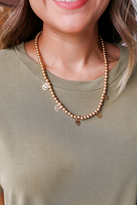 Gold - Smiley Face Charm Necklace
