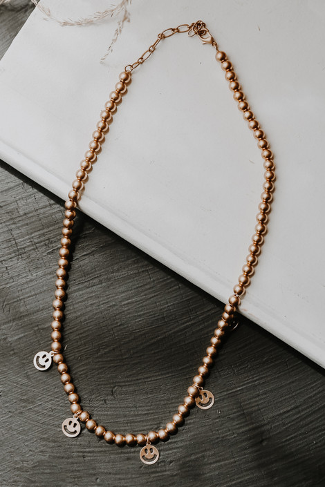 Gold - Smiley Face Charm Necklace from Dress Up