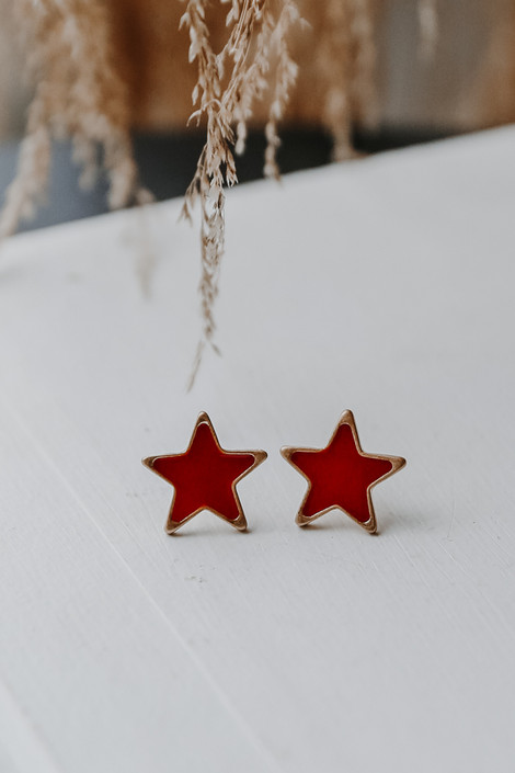 Red - Star Stud Earrings from Dress Up