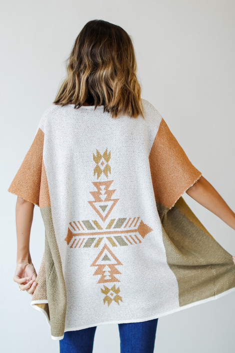 Taupe - Aztec Sweater Cardigan Back View