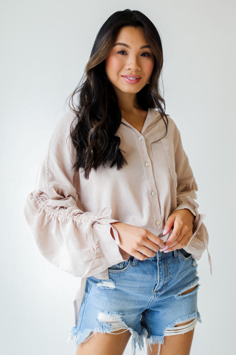 Taupe - Ruched Sleeve Blouse