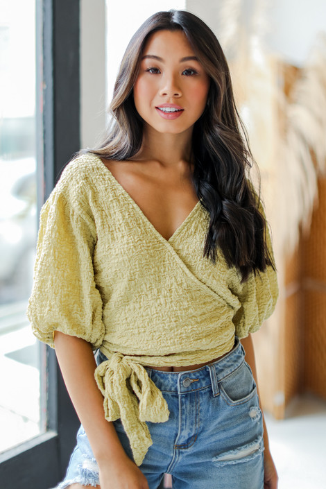 Lime - Crinkle Linen Wrap Top