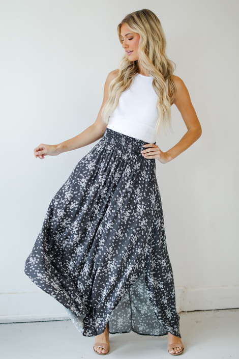 Charcoal - Floral Maxi Skirt
