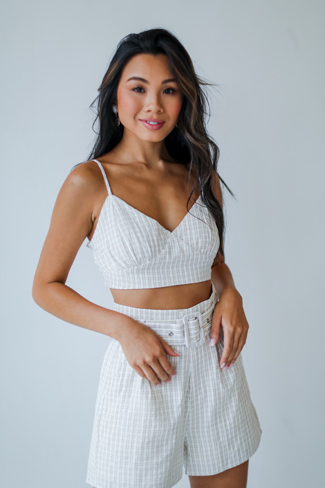 Taupe - Striped Crop Top
