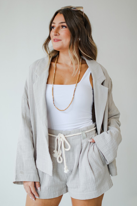 Grey - Linen Shorts from Dress Up