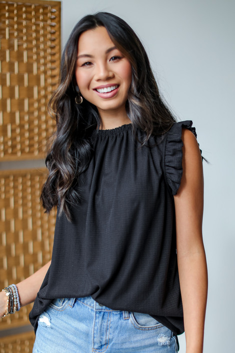 Black - Ruffle Sleeve Top from Dress Up