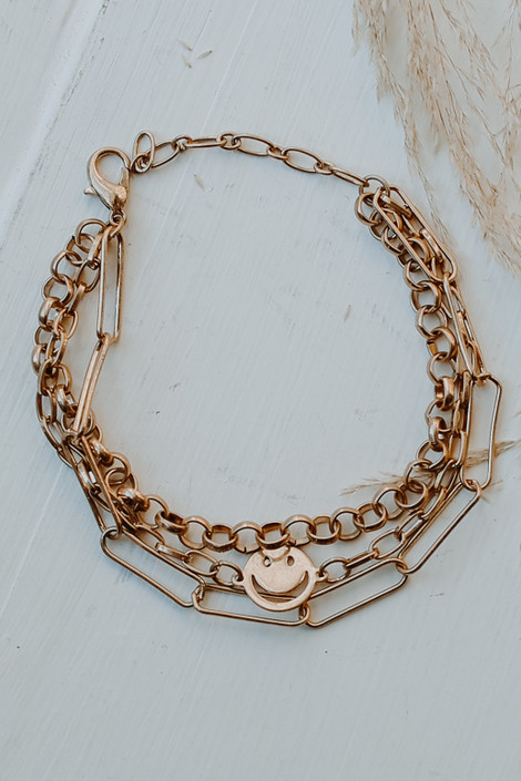 Gold - Layered Smiley Face Bracelet from Dress Up
