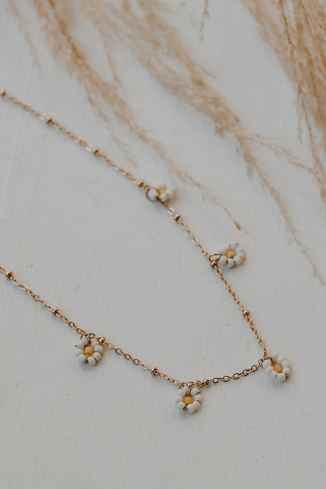 Gold - Beaded Flower Necklace from Dress Up
