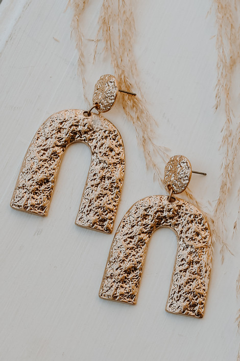 Gold - Hammered Statement Drop Earrings from Dress Up