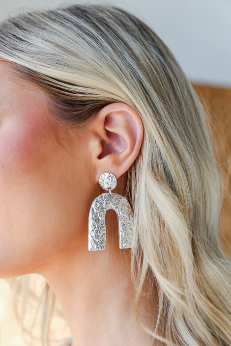 Silver - Hammered Statement Drop Earrings