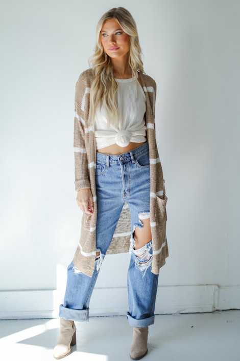 Taupe - Striped Cardigan from Dress Up
