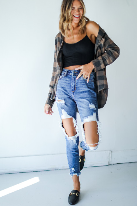 Medium Wash - Distressed Skinny Jeans from Dress Up