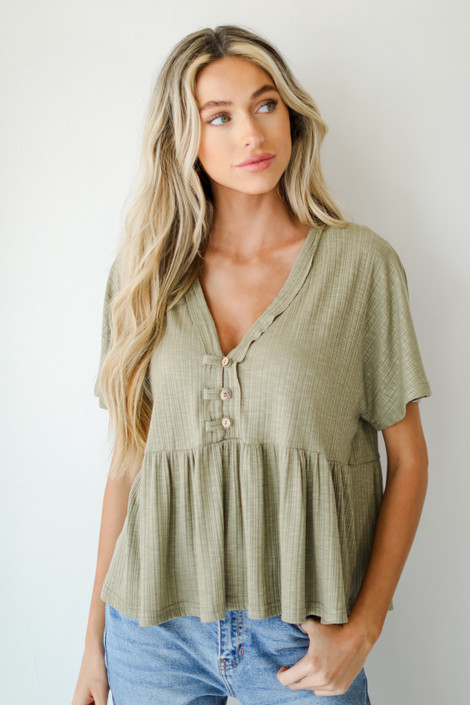 Olive - Ribbed Babydoll Top