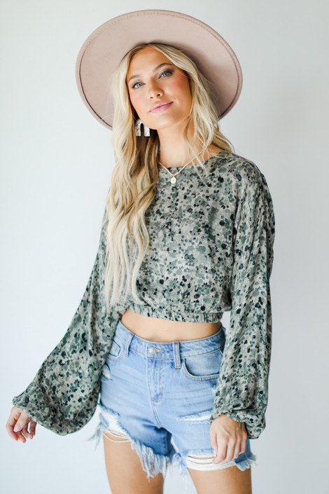 Olive - Spotted Open Back Blouse