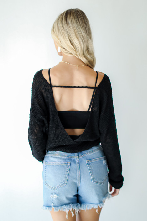 Black - Surplice Sweater Top from Dress Up