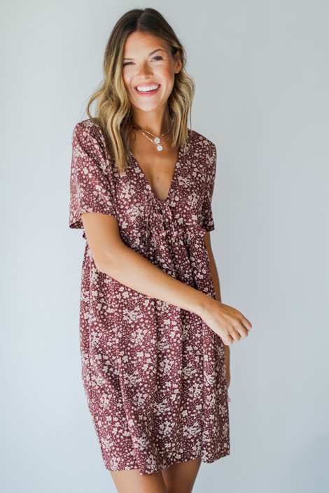 Wine - Floral Babydoll Dress from Dress Up