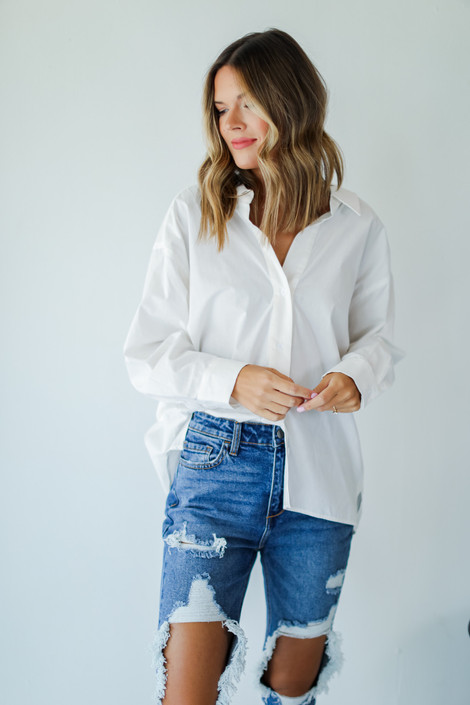 White - Button-Up Blouse from Dress Up
