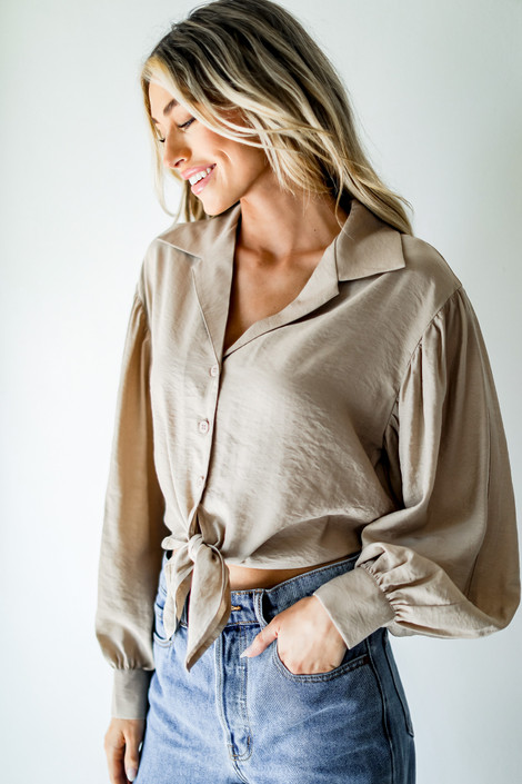 Taupe - Tie-Front Blouse from Dress Up