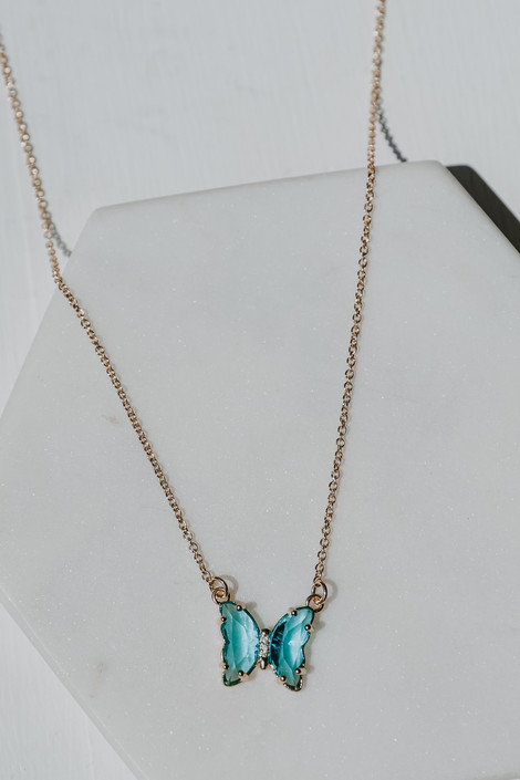 Gold - Butterfly Gemstone Necklace from Dress Up