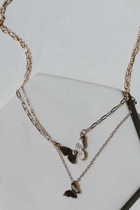 Gold - Layered Butterfly Necklace from Dress Up