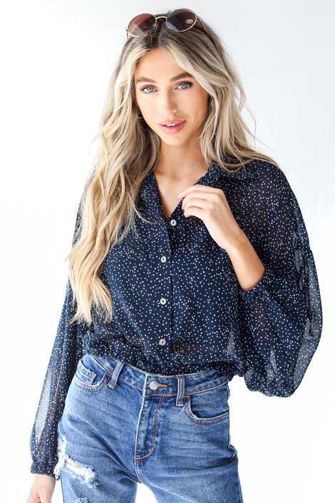 Navy - Spotted Blouse