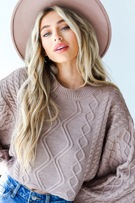 Mocha - Cable Knit Sweater from Dress Up
