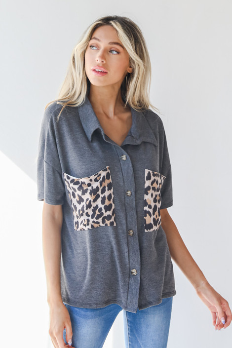 Charcoal - Pocket Blouse from Dress Up