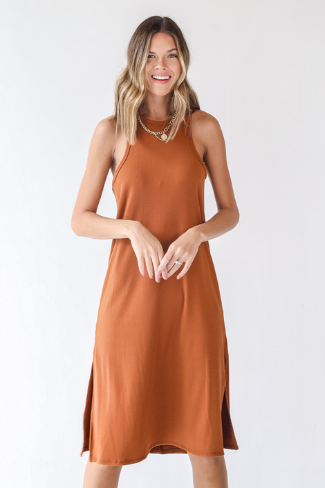 Rust - Ribbed Midi Dress from Dress Up