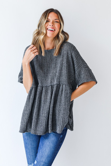 Charcoal - Loose Knit Babydoll Top