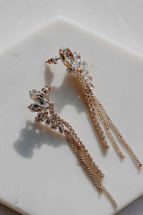 Gold - Rhinestone Statement Earrings from Dress Up