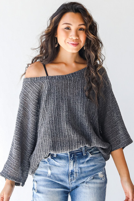 Charcoal - Loose Knit Top