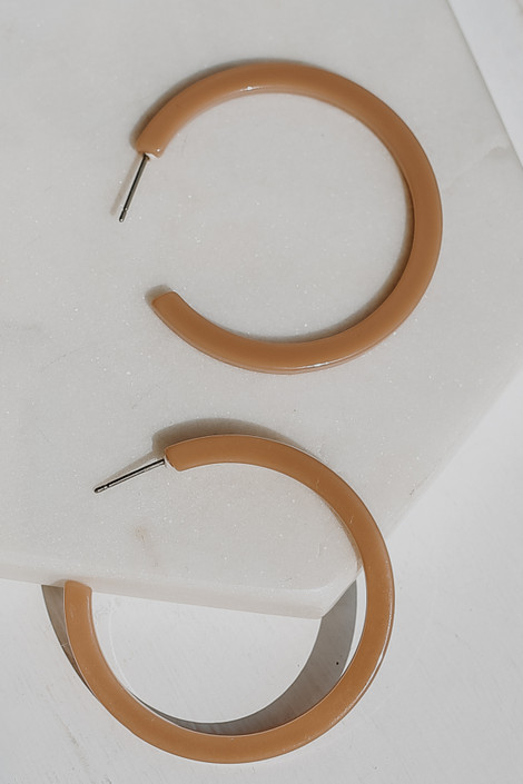 Taupe - Acrylic Hoop Earrings from Dress Up