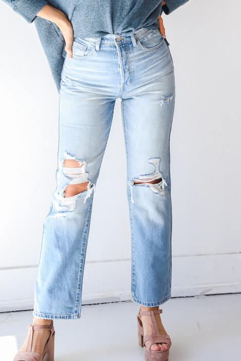Light Wash - High Waisted Dad Jeans