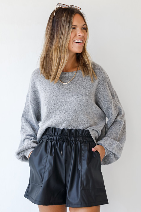 Black - Faux Leather Shorts from Dress Up