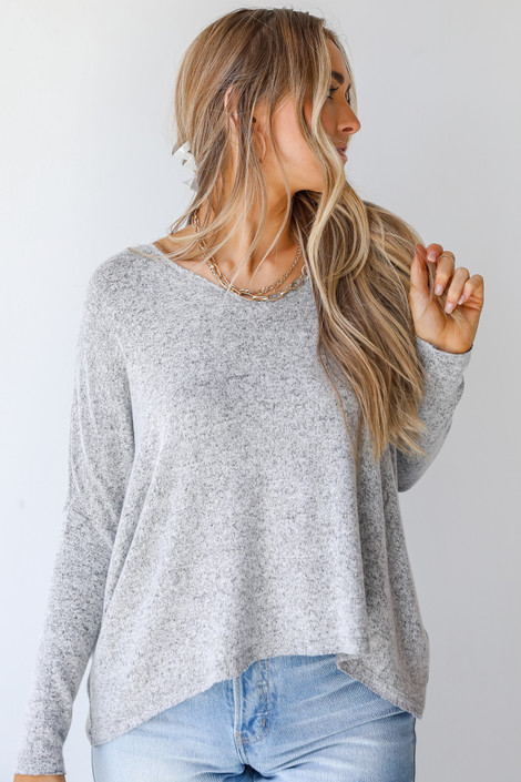 Grey - Brushed Knit Top from Dress Up