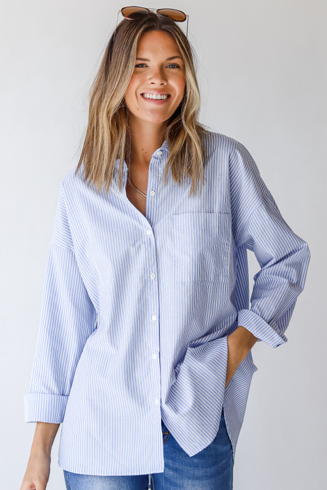 Blue - Button-Up Blouse from Dress Up