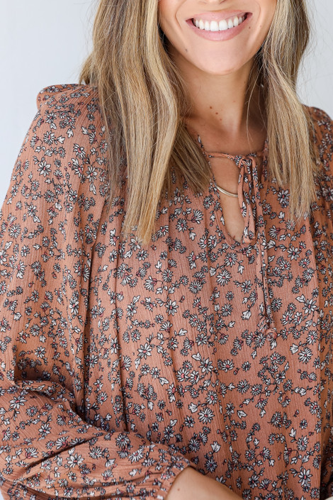Rust - Floral Blouse from Dress Up