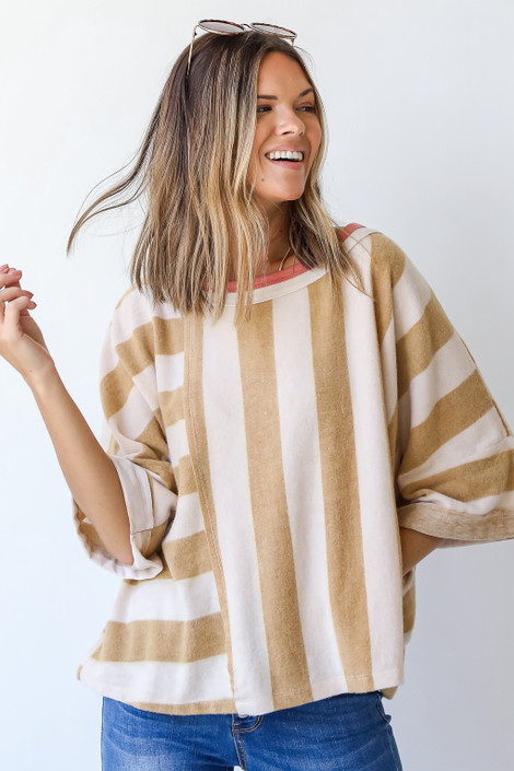 Camel - Oversized Striped Top from Dress Up