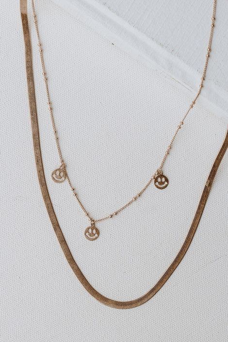 Gold - Smiley Face Layered Necklace from Dress Up