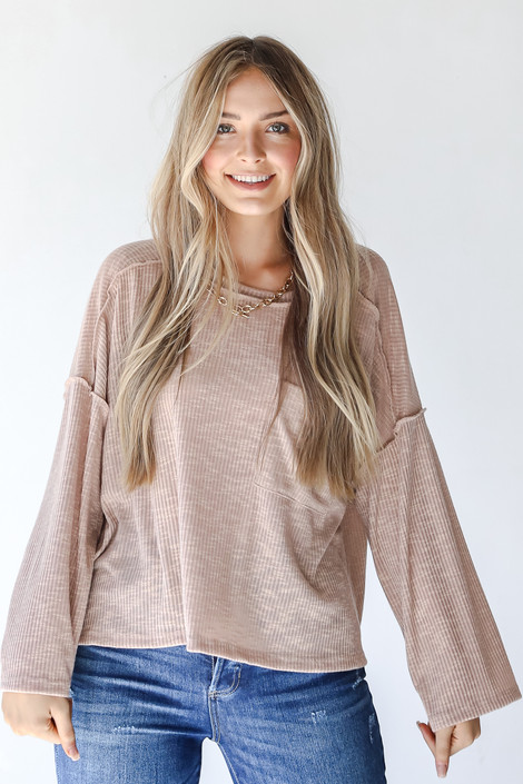 Taupe - Ribbed Top