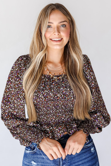 Brown - Floral Blouse